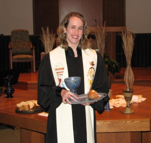 Rev. Elizabeth Hagan, Associate Pastor at First Baptist Church of Gaithersburg.  Don't let the robe fool you--she's not that holy!