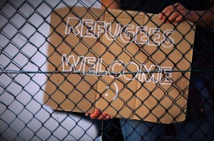 refugee welcome sign